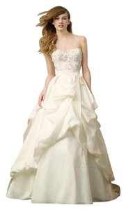 Wtoo Ivory Silky Taffeta with Tulle Overlay Poppy Skirt By Wootoo - Formal Wedding Dress Size 8 (M)