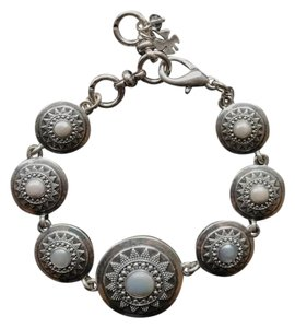 Lucky Brand Silver-tone Imitation Pearl Star Disc Link Bracelet