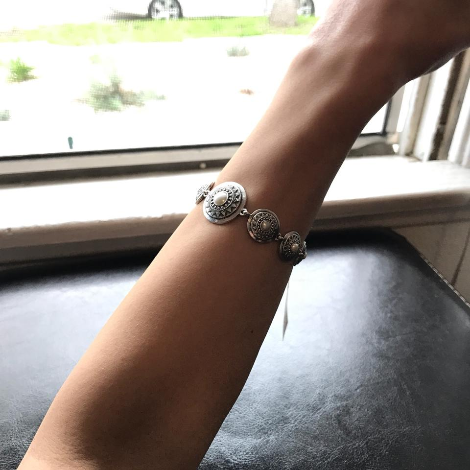 Lucky Brand Silver Tone Imitation Pearl Star Disc Link