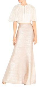 Herv Leger Maxi Skirt Rose gold metallic foil