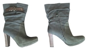 Henry Beguelin Ankleboots Canvas Leather High Heel Green Boots