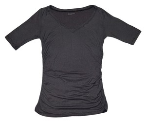 Caslon Shirt V-neck Striped Cute Ruched T Shirt Grey and Black