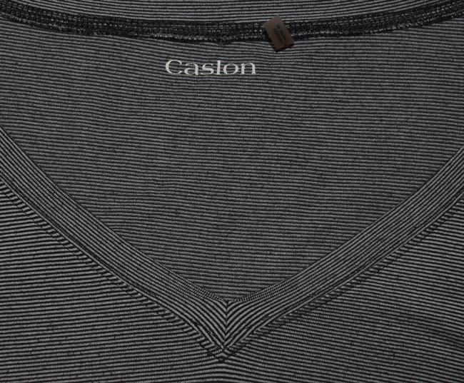 Caslon V-neck Striped Cute Ruched T Shirt Grey and Black