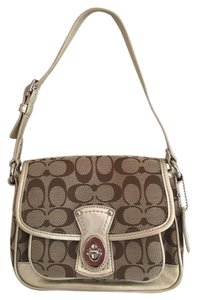 Coach Leather Trim Front Pocket Shoulder Bag