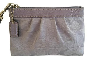 Coach Patent Leather Trim Signature Fabric Wristlet in Lilac