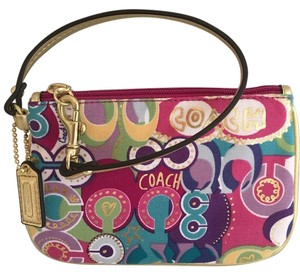Coach Dark Pink Wristlet in Multi with gold trim