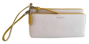 Coach Pebbled Leather Wristlet in White with yellow trim