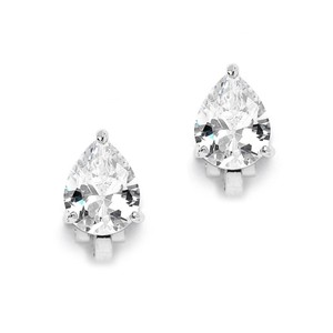 Mariell 2.00 Ct. Cubic Zirconia Pear Shape Silver Rhodium Clip-on Earrings For Weddings Or Bridesmaids 3989ec-s