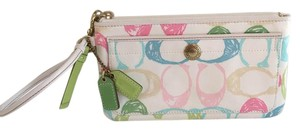 Coach Pastels Fabric Leather Trim Wristlet in White with multi-pastels