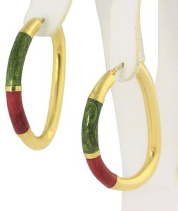 Green and Red Hollow Hoop Enamel- 18k Gold Jewelry.
