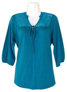a.n.a. a new approach Sleeves Keyhole Top teal