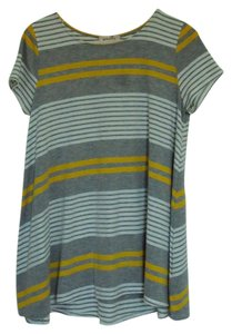 Anthropologie Swing Tunic T Shirt Yellow/ Grey/ White striped