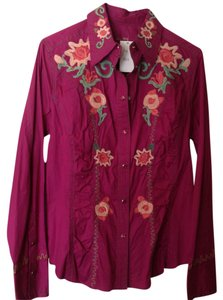 Love Polly Button Down Shirt Magenta