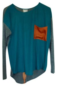 Anthropologie Silk Cotton Pocket Blocking Top Turquoise/ Grey/ Burnt Orange