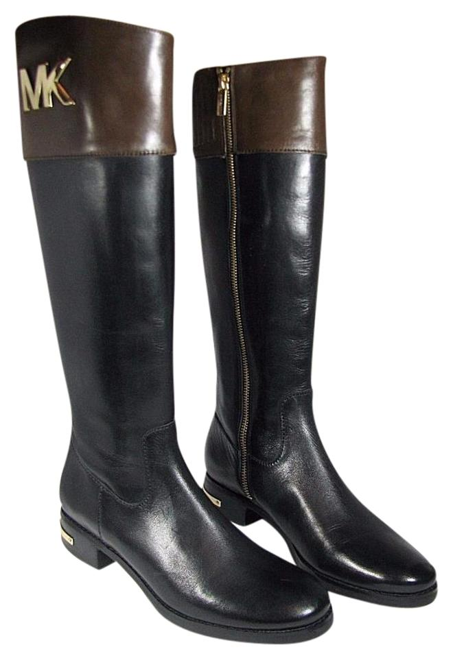 0768245ed625 Michael Kors Black  Brown New Black  Two Tone Logo Leather Riding Boots  Booties