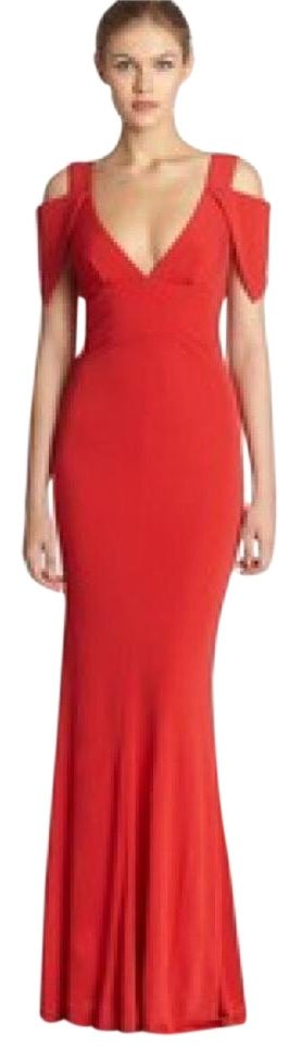 4985f43c98e A.B.S. by Allen Schwartz Poppy Red Cold Shoulder Double V Gown Long ...