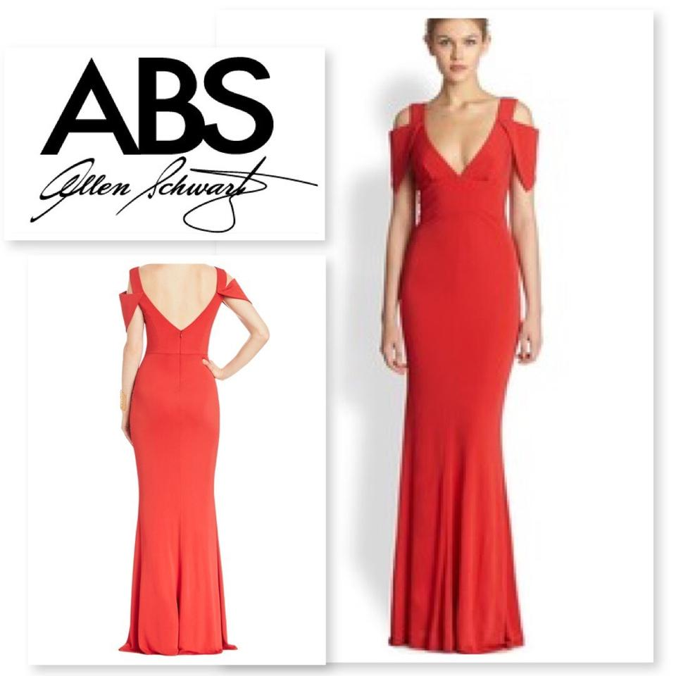 A.B.S. by Allen Schwartz Poppy/Red Cold Shoulder Double V Gown Long ...