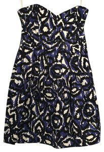 Shoshanna Print Ikat Sleeveless Strapless Empire Waist Dress