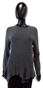 525 America Long Sleeve Cable Knit Border Sweater
