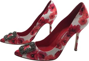 Manolo Blahnik Floral Printed Crystal Embellished White Multi Pumps