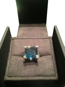 David Yurman David Yurman Cushion On Point Ring with Hampton Blue Topaz and Diamonds