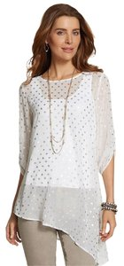 Chico's Tunic Metallic Asymmetrical Keyhole Sheer Top Antique white