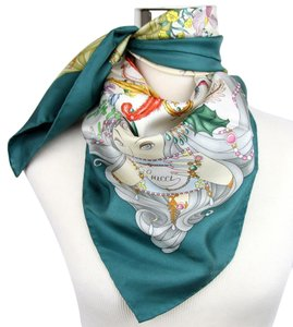 Gucci New Gucci Large Teal Silk Floral Scarf w/Four Season Print 341483 4478