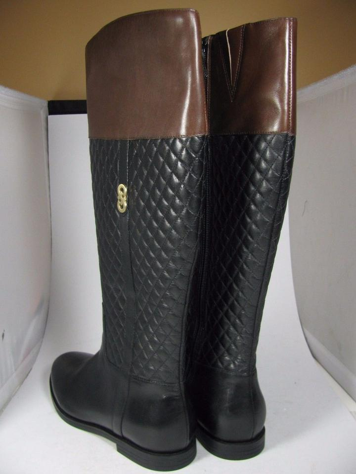 Cole Haan Black Brennan Brown Quilted Flat Riding Boots/Booties ... : quilted brown boots - Adamdwight.com