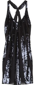 Juicy Couture Sequined Silk Chiffon Sleeveless Striped Dress