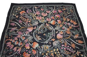 Gucci New Gucci Large Black Floral Silk Foulard Scarf 303156 1076