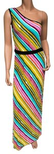 Multi-Color Maxi Dress by Trina Turk One Shoulder Maxi Striped Belted Stretchy