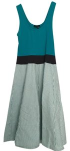 Theory short dress Teal Sleeveless Empire Waist Stretchy Striped on Tradesy