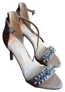 Jessica Simpson Sexy Formal Wedding Sparkle Nude Sandals