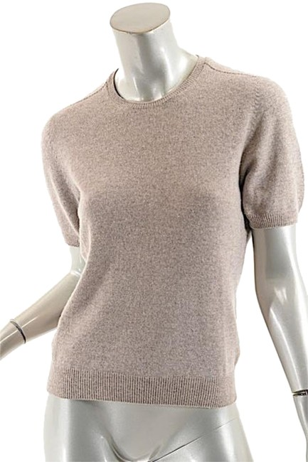 Item - Cashmere Jewel Neck S/S Oatmeal Sweater