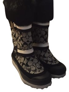 Coach Black and gray Coach logo Boots