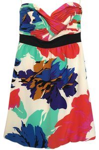 Tibi Strapless Empire Waist Floral Silk Dress
