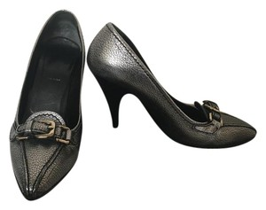 Prada Metallic Loafers High Heels Buckles Silver Pumps