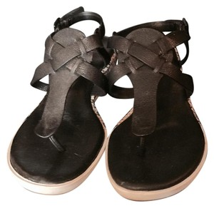 Cole Haan Black with snake skin print on side of wedge Sandals