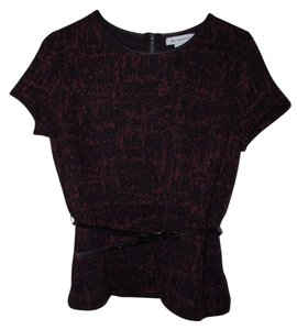 Liz Claiborne 60s Modern Feminine Night Out Top Burgundy/Purple/Black