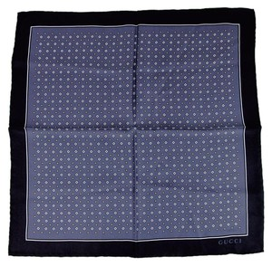 Gucci New Gucci Men's Blue Silk Handkerchief w/Gucci Logo 368993 4268