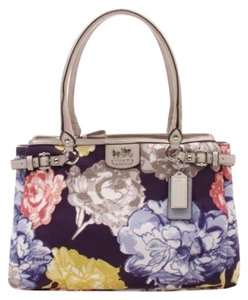 Coach Patent Leather Floral Embroidered Multi-pocket Satchel in Navy Multi