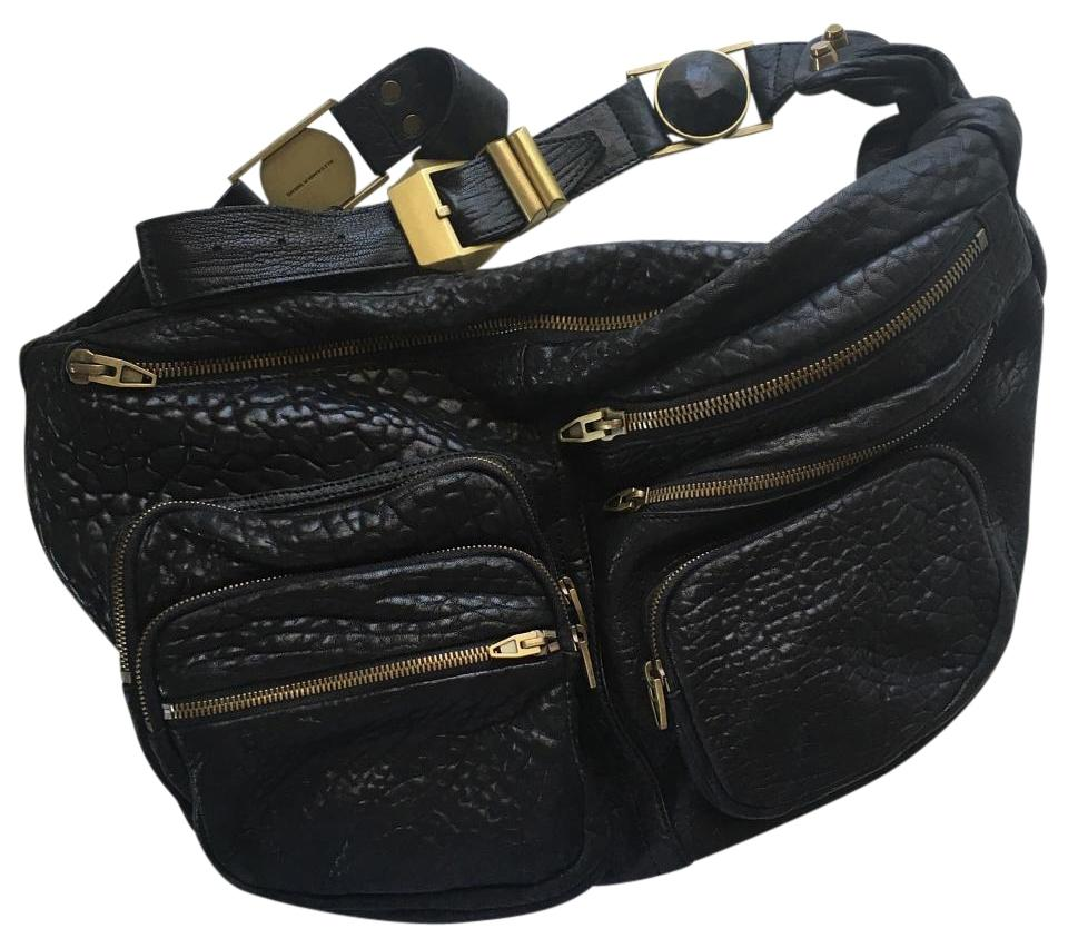 eb11fcd0 Alexander Wang Textured Max Fanny Pack Black Pebbled Leather Cross Body Bag  70% off retail