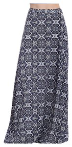 Other Midi Long Flowy Boho Maxi Skirt Navy Print