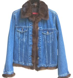 Moda Italiana Denim, Mink collar/thick trim Womens Jean Jacket