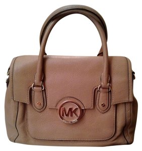 Michael Kors Leather Satchel in Beige
