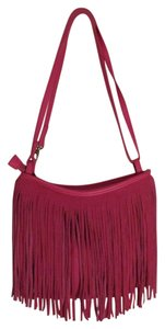 Aéropostale Fringed Leather Canvas Suede Cross Body Bag