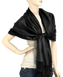 Black Pashmina Silk Scarf Wrap Shawl
