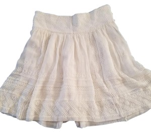Isabel Marant Marnat Mini Lace Drop Waist Mini Skirt Ivory