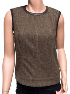 DKNY Wool Leather Top Brown