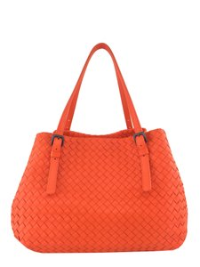 Bottega Veneta Leather Tote in Orange